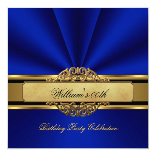 Elegant Royal blue Gold Birthday Party Mens Mans Invitation