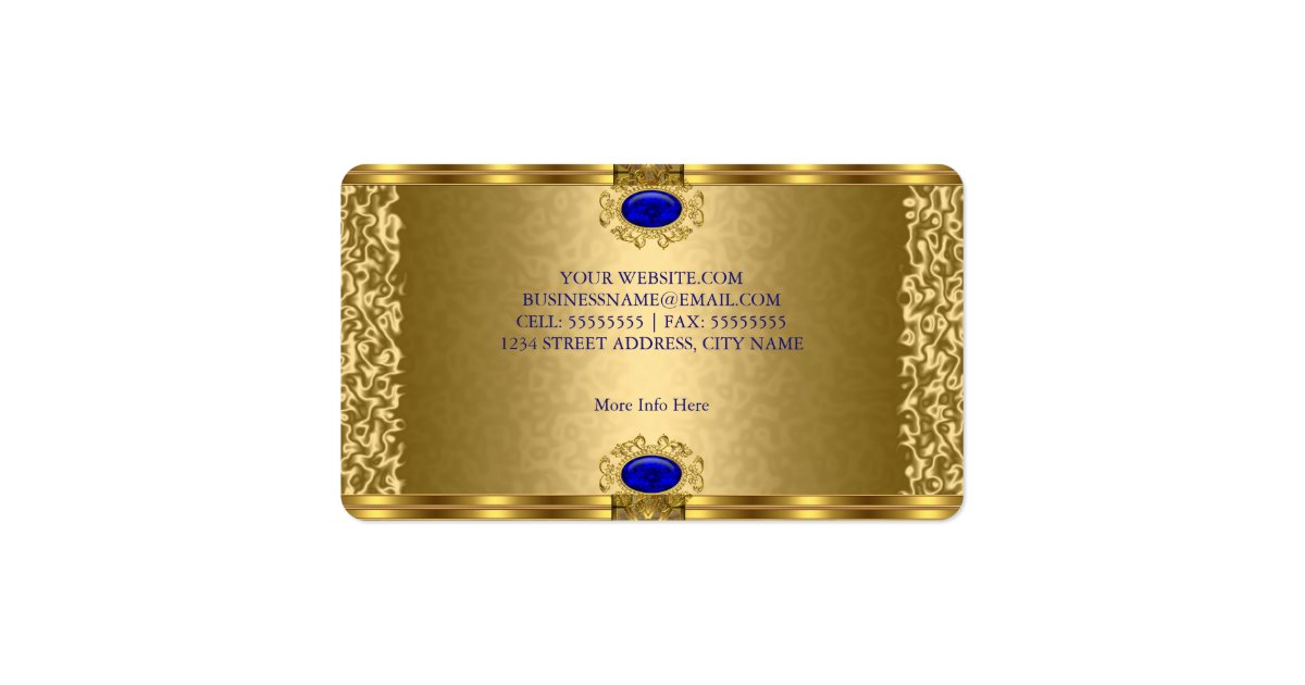 Elegant Royal Blue Gold Business Card Zazzle