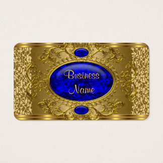 Elegant Royal Blue Gold Business Card