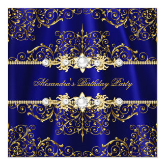 Elegant Royal Blue & Gold Damask Birthday Party Card