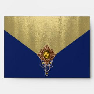 Elegant Royal Blue Gold Envelope