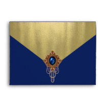 Elegant Royal Blue Gold Envelope