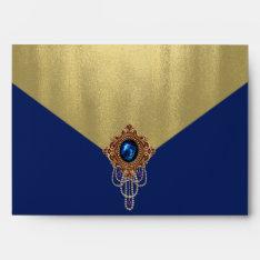 Elegant Royal Blue Gold Envelope at Zazzle