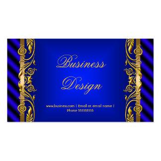 Elegant Royal Blue Gold Floral Ripple Business Card