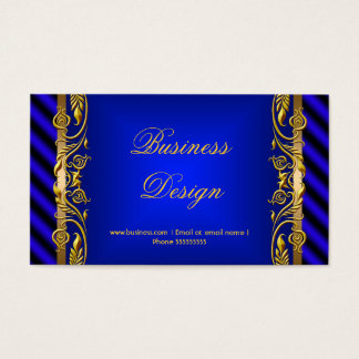 Elegant Royal Blue Gold Floral Ripple Business Card