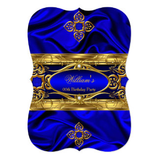 Elegant Royal Blue Gold Gems Silk Birthday Party 3 Card