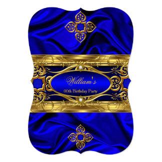 Elegant Royal Blue Gold Gems Silk Birthday Party 3 5x7 Paper Invitation Card