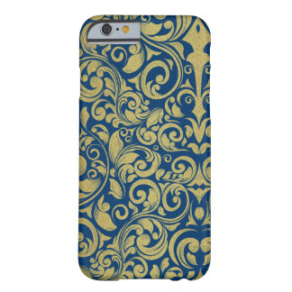 Elegant Royal Blue Gold Glitter Damask Floral Barely There iPhone 6 Case