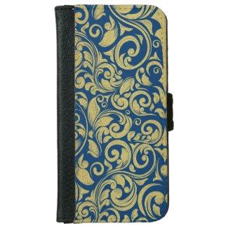 Elegant Royal Blue Gold Glitter Damask Floral iPhone 6 Wallet Case