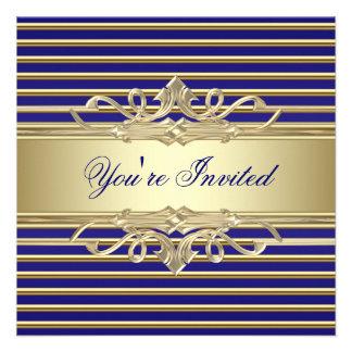 Elegant  Royal Blue Gold Party Invitations