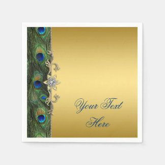 Elegant Royal Blue Green and Gold Peacock Paper Napkin