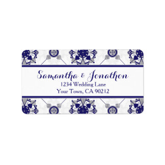 Elegant Royal Blue Grey Medallion Pattern Address Label
