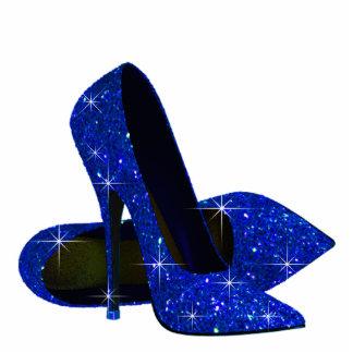 Elegant Royal Blue High Heel Shoes Standing Photo Sculpture