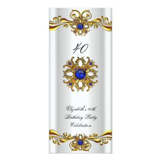 "Elegant Royal Blue Jewel Gold Birthday Party 2 4"" X 9.25"" Invitation Card"