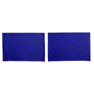 Elegant Royal Blue Lace Print Pillowcase Pair