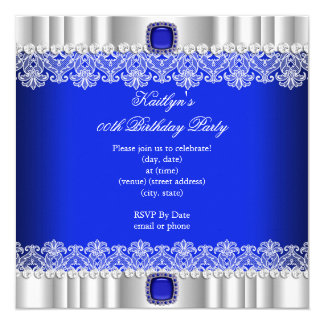 Elegant Royal Blue Lace Silk Birthday Party 5.25x5.25 Square Paper Invitation Card