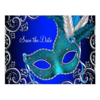 Elegant Royal Blue Masquerade Save The Date Postcard