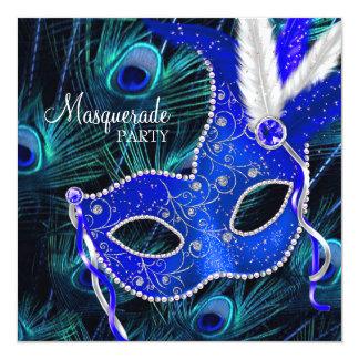 Elegant Royal Blue Peacock Masquerade Party Announcement