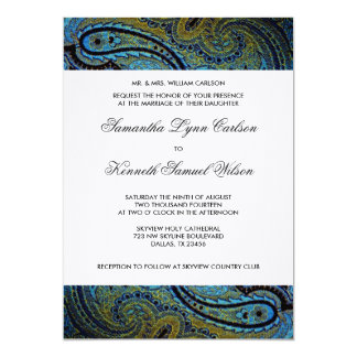 Elegant Royal Blue Peacock Paisley Wedding Card