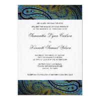 Elegant Royal Blue Peacock Paisley Wedding Invitation
