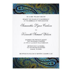 Elegant Royal Blue Peacock Paisley Wedding 5x7 Paper Invitation Card