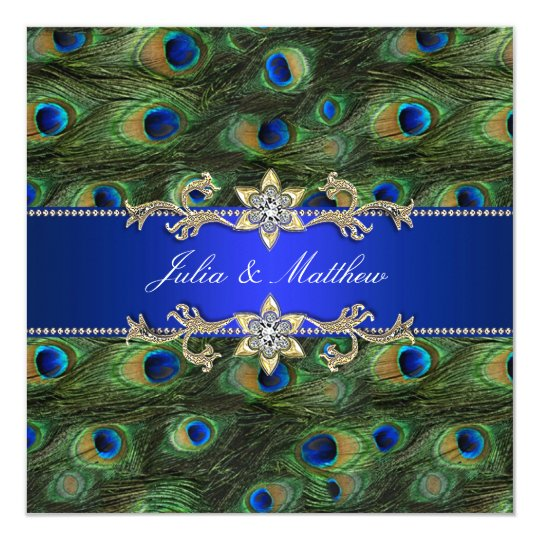 Elegant Royal Blue Peacock Wedding Card