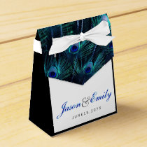 Elegant Royal Blue Peacock Wedding Favor Box