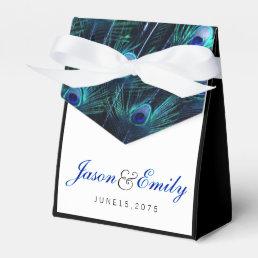 Elegant Royal Blue Peacock Wedding Favor Box