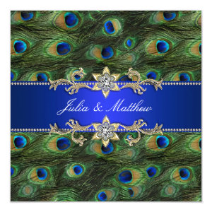 Elegant Royal Blue Peacock Wedding 5.25x5.25 Square Paper Invitation Card