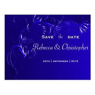 Elegant Royal Blue Save the Date Postcard