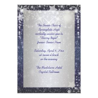 Elegant Royal Blue Starry Night Prom 5x7 Paper Invitation Card