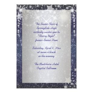 Elegant Royal Blue Starry Night Prom Invitation