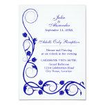 """Elegant Royal Blue Swirls Reception Cards 3.5"""" X 5"""" Invitation Card"""