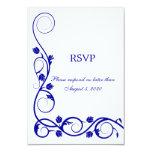 "Elegant Royal Blue Swirls RSVP / Reply Card 3.5"" X 5"" Invitation Card"