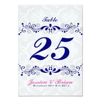 Elegant Royal-Blue Tones Floral Lace White Damasks Card