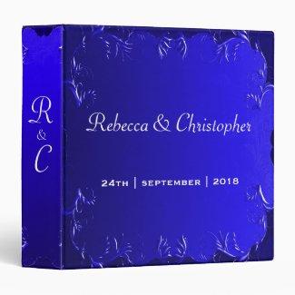 Elegant Royal Blue Wedding Album 3 Ring Binder