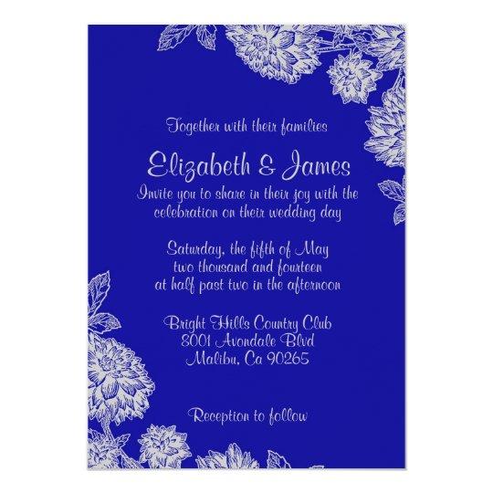 Elegant Royal Blue Wedding Invitations Zazzlecom
