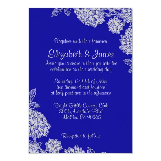 Elegant Royal Blue Wedding Invitations Zazzle Com