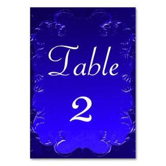 Elegant Royal Blue Wedding ReceptionTable Table Number