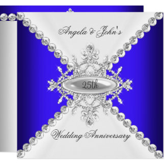 Elegant Royal Blue White 25th Wedding Anniversary Card