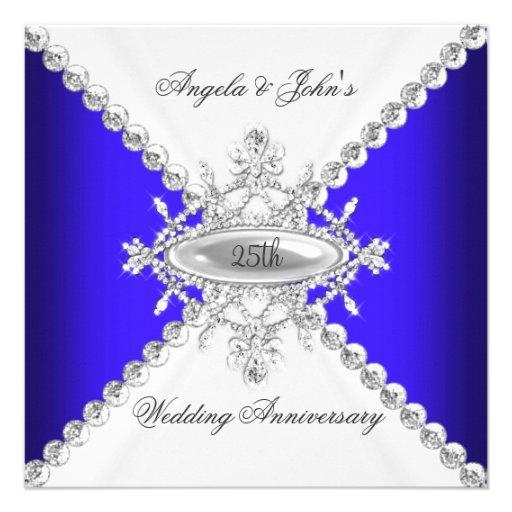 Elegant Royal Blue White 25th Wedding Anniversary Custom Invitation