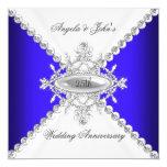 Elegant Royal Blue White 25th Wedding Anniversary Invitation