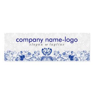 Elegant Royal Blue & White Floral Damask & Swirls Business Card Template