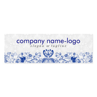 Elegant Royal Blue & White Floral Damask & Swirls Double-Sided Mini Business Cards (Pack Of 20)