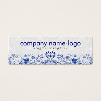 Elegant Royal Blue & White Floral Damask & Swirls Mini Business Card