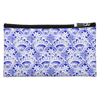 Elegant Royal Blue White Lace Damask Pattern Makeup Bags