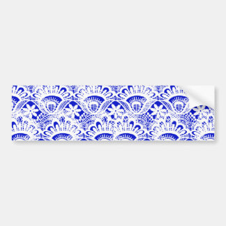 Elegant Royal Blue White Lace Damask Pattern Bumper Sticker