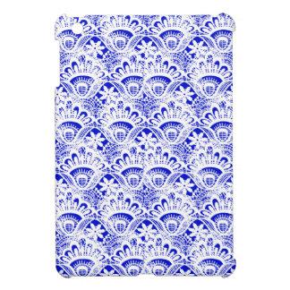 Elegant Royal Blue White Lace Damask Pattern Cover For The iPad Mini