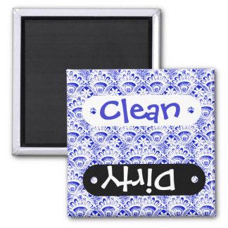 Elegant Royal Blue White Lace Damask Pattern Magnet