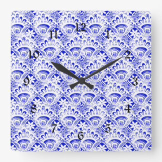 Elegant Royal Blue White Lace Damask Pattern Square Wall Clock